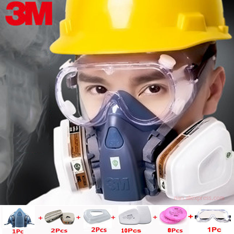 3M 7502 Industrial Mask Spray Paint Chemical Organic Gas 6001 Activated Carbon Filter 2091/5N11 Filter Cotton Dust And Particles