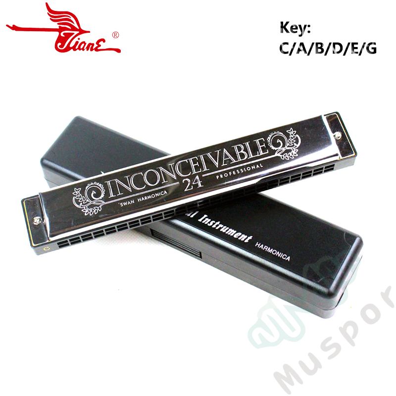 SWAN Tremolo Harmonica C/A/B/D/E/F/G/A#/C#/D#/F#/G# Key 24 Holes Harp Mouth Organ Woodwind Musical Instruments Case
