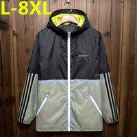 Artı boyutu 8XL 7XL 6XL 5XL 2017 Yeni Varış Erkekler moda Kamuflaj Ceket Yaz Gelgit Erkek Kapüşonlu Ince Güneş Koruyucu Ceket toptan