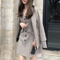 Vintage England Style Dress Suits Women Plaid Jacket Coat Retro Slim Mini Dress Casual Office Lady OL Work Wear Female Vestido