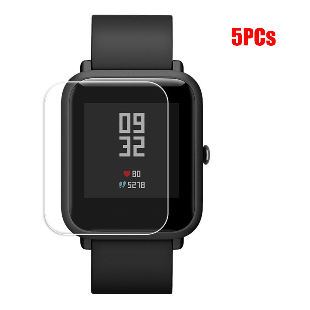 5PCS Stylish Transparent Clear Screen For Amazfit Protective Film Waterproof Film For Xiaomi Huami Amazfit Bip Youth Watch L0507-in Smart Accessories from Consumer Electronics