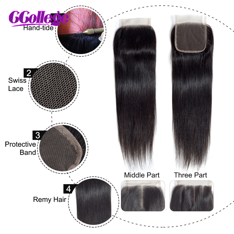 Peruvian Straight Remy 3 Bundles With Closure 100% Human Hair Bundles - Mänskligt hår (svart) - Foto 6