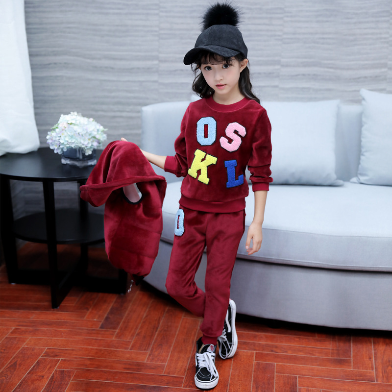 Children's Clothing  Girls New Korean Version of The Girls Winter Wear Large Children's Letters Gold Velvet Three-piece 2017 winter in the long section of the cotton men korean version of the loose hong wind thickening of large yards of clothing