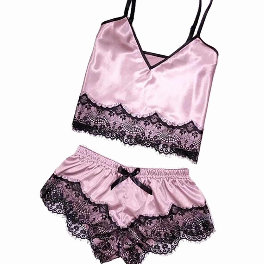 Bayan Seksi pijama seti saten sapan pijama iç çamaşırı dantel ilmek gecelik iç çamaşırı Seksi Bayan Gecelikler # YL5