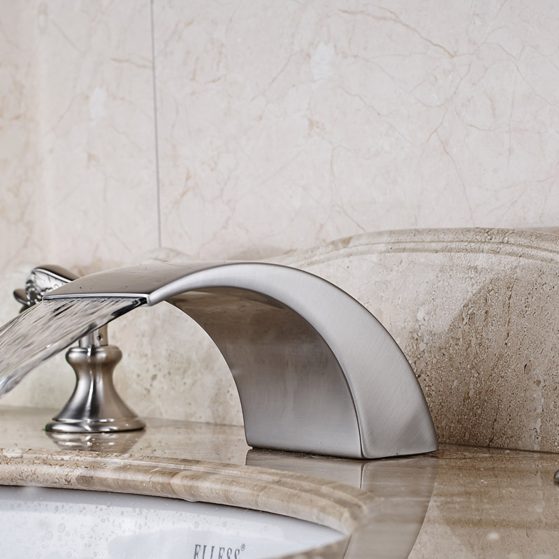 Brushed Nickel LED Light Widespread Basin Sink Faucet Two Handles Curved Shape Mixer with Hot and Cold Water