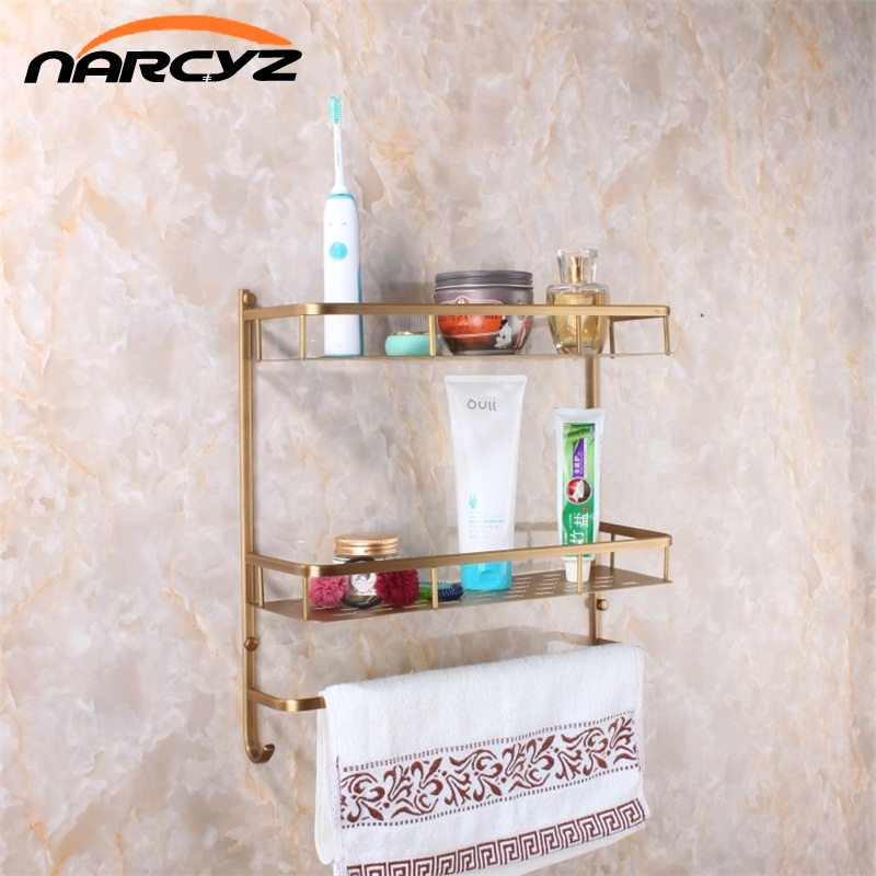 Full copper Wall Mount copper 2 layers Storage Basket shower room Bathroom Towel Rack Soap Dish Shampoo Rack Bathroom Shelves black bathroom shelves stainless steel 2 tier square shelf shower caddy storage shampoo basket kitchen corner shampoo holder