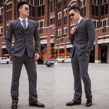 Lattice blazer males formal costume newest coat pant designs go well with males costume homme terno style marriage wedding ceremony fits for males's
