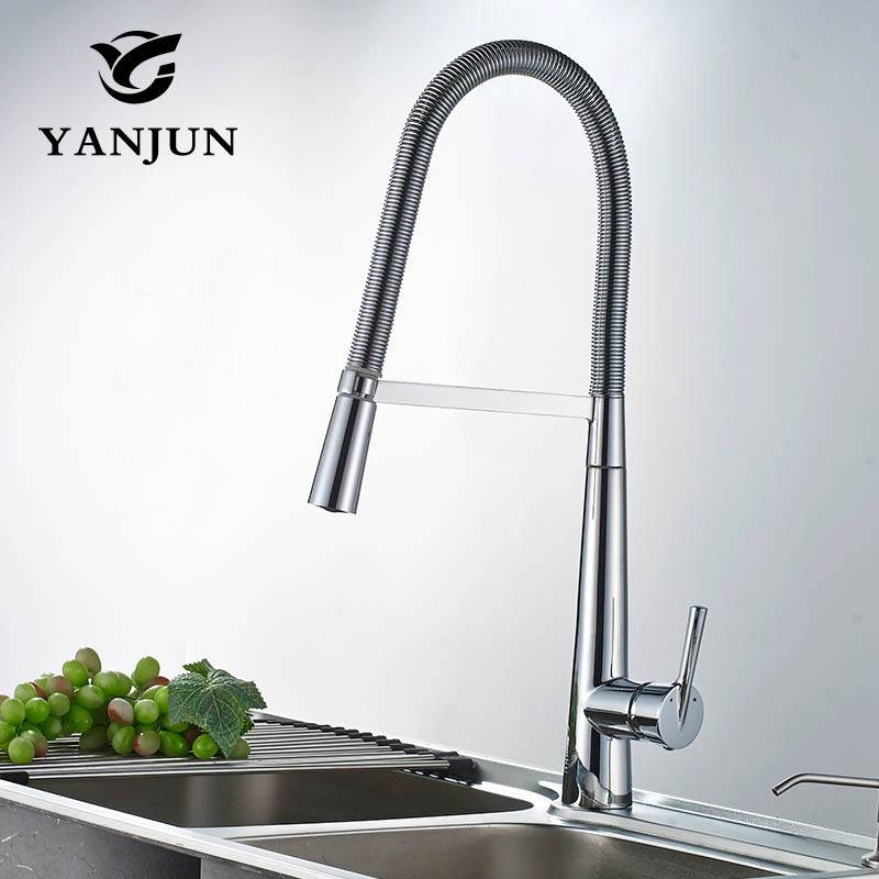 Yanjun US Kitchen Faucet Chrome Pull Down Single Handle Basin Sink Deck Mounted  Swivel Mixer Cold and Hot Water Tap YJ-6652 kitchen chrome plated brass faucet single handle pull out pull down sink mixer hot and cold tap modern design