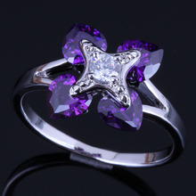 Silky Heart Shaped Purple Cubic Zirconia White CZ 925 Sterling Silver Ring For Women V0423