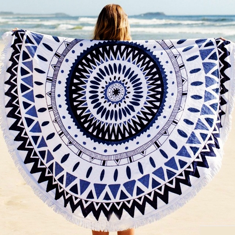 2016 new summer large 100 cotton printed round beach towels with tassel circle beach towel