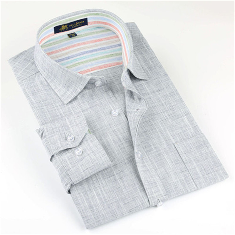Image 4 - 2019 New Spring Linen Casual Shirt Men Long Sleeve Classic Men's Dress Shirts Slim Fit Solid Color Man Fashion Shirt 3XL YN10011-in Casual Shirts from Men's Clothing