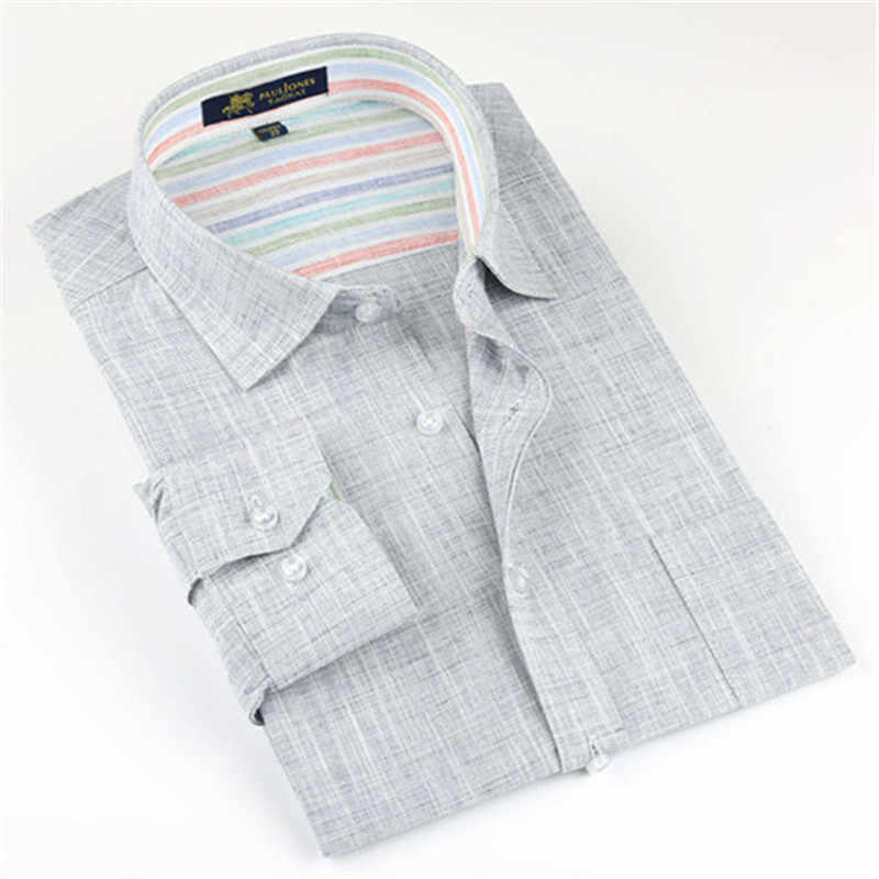 2019 Nieuwe Lente Linnen Casual Shirt Heren Lange Mouwen Klassieke mannen Jurk Shirts Slim Fit Effen Kleur Man Mode shirt 3XL YN10011