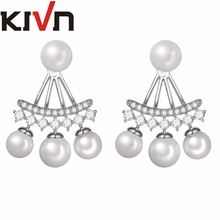 KIVN Womens Fashion Jewelry CZ Cubic Zirconia Simulated Pearl Bridal Wedding Earring Ear Jackets Mother Birthday Christmas Gifts