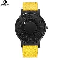 Eutour relógio homem lona pulseira de couro dos homens relógios bola magnética mostrar relógios de quartzo moda masculino relógio de pulso|Relógios de quartzo| |  -