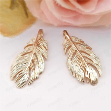 6PCS 29x13MM 24K Champagne Gold Color Plated Brass Feather Charms Pendants High Quality Diy Jewelry Accessories