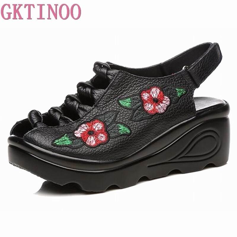 GKTINOO Véritable Chaussures En Cuir D'été Femmes Sandales 2018 Élégant Confortable Femmes Chaussures De Mode Sandales Plate-Forme de Cales Sandales