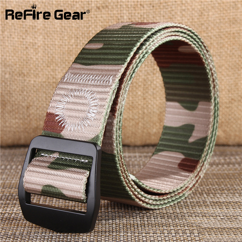 New Casual Military Style Tactical Belt Men Army Combat Camouflage Belts Fashion Adjustable Black Metal Buckle Nylon Waist Belt Apparel Accessories