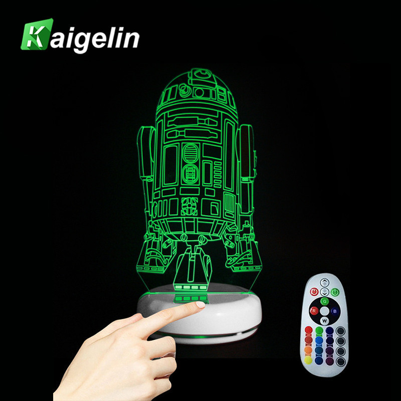 Robot R2D2-B 7 Colors 3D Visual Light Creative Button Type USB Touch Sensor Remote Control LED Night Light For Children Bedroom