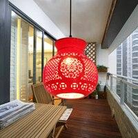 Китайский Балкон Столовая бар коридор креативный одноголовый Керамический Китайский красный фонарь подвесной светильник LO8149