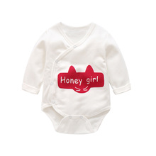 New Cotton Youngsters's Clothes Toddler Print Cotton Triangle Robes Farts Lengthy Sleeve Romper
