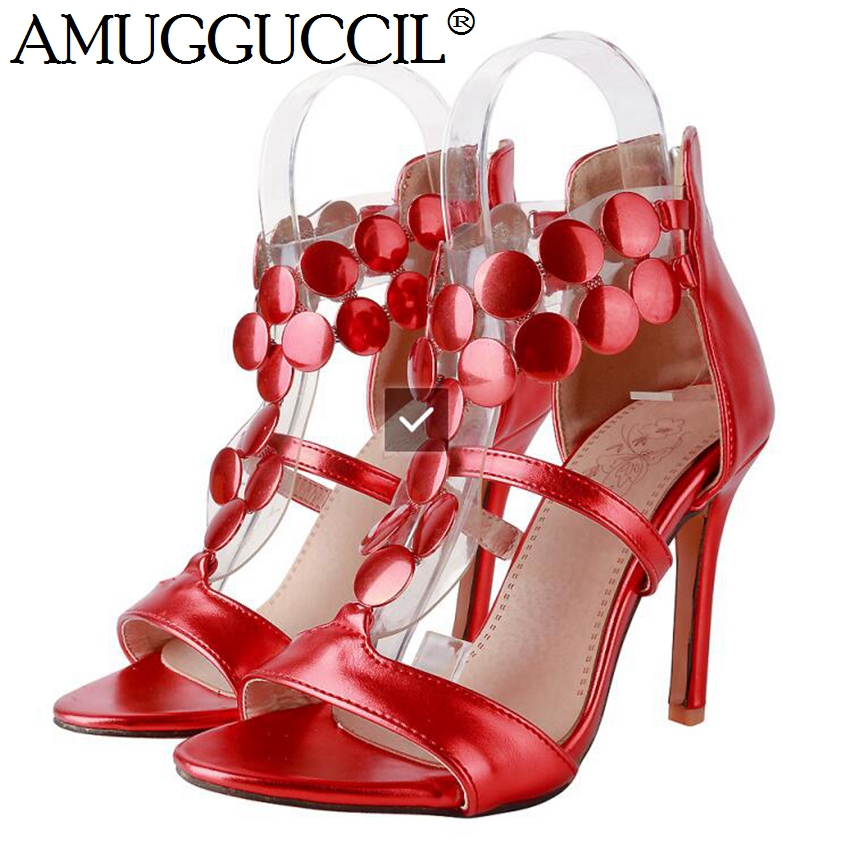 2018 New Arrival Plus Big Size 32-46 Gold Red Silver Zip Fashion Sexy High Heel Summer Female Lady Women Sandals L939