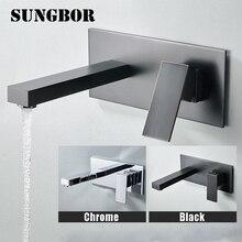 Bathroom Faucet Wall Mounted Hot& Cold Water Mixer Matt Black Brass Basin Concealed Crane for LT-305L