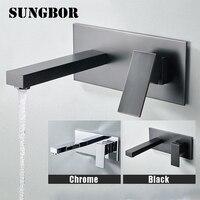Bathroom Faucet Wall Mounted Hot& Cold Water Mixer Matt Black Brass Basin Mixer Concealed Mixer Crane for Bathroom LT 305L