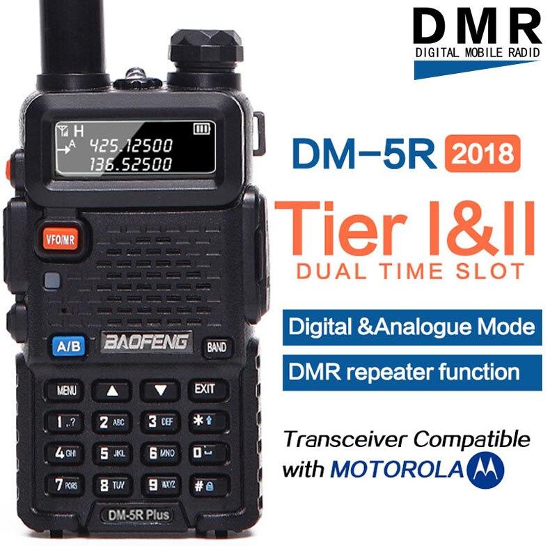 Baofeng DM-5R PLUS Niveau 1 Niveau 2 talkie walkie numérique Répéteur dual time slot DMR Deux-way radio VHF/UHF dual Band ham radio