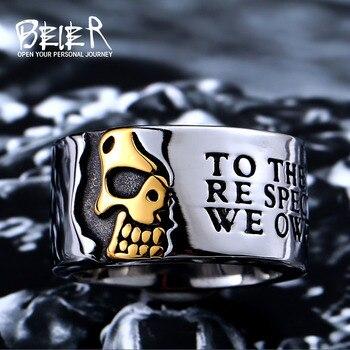 Anillo de acero inoxidable 316L de la nueva tienda de Beier de alta calidad para hombre gótico fresco medio cráneo anillo para hombres joyería de moda LLBR8-047R