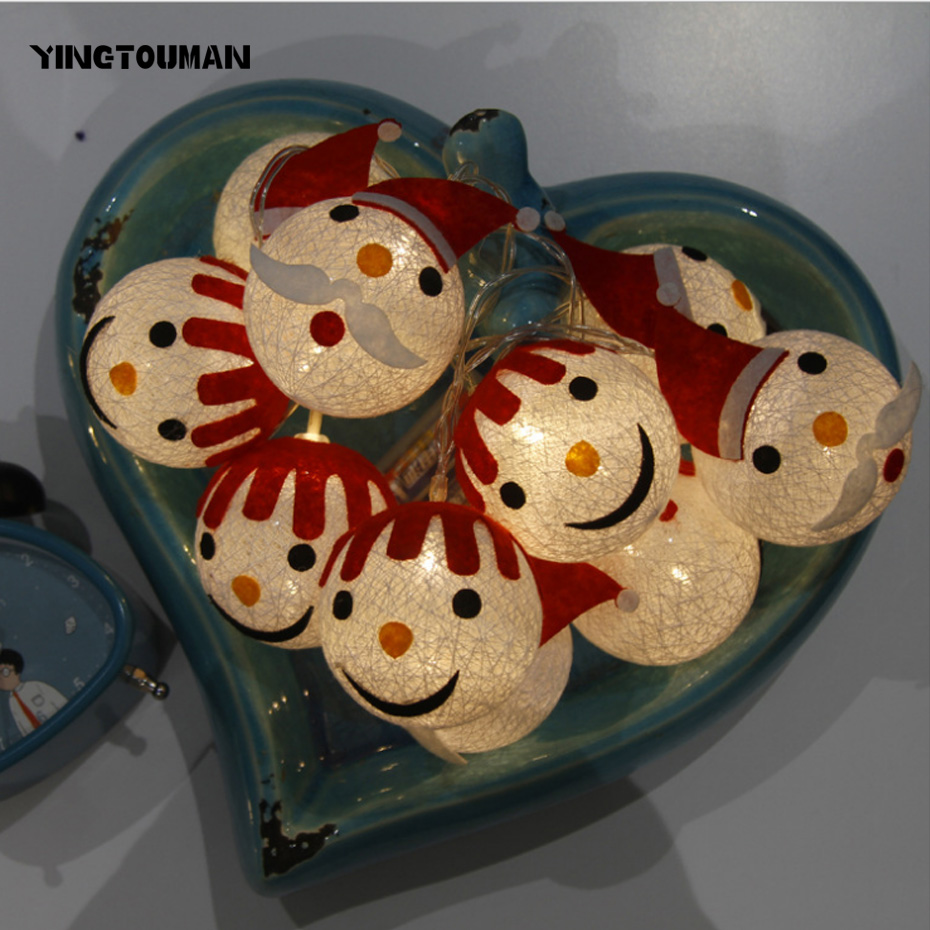 YINGTOUMAN Snowman Type Christmas Lights Wedding Decoration Lamp For Home String Fairy Light 10 LED Indoor Display Lamp