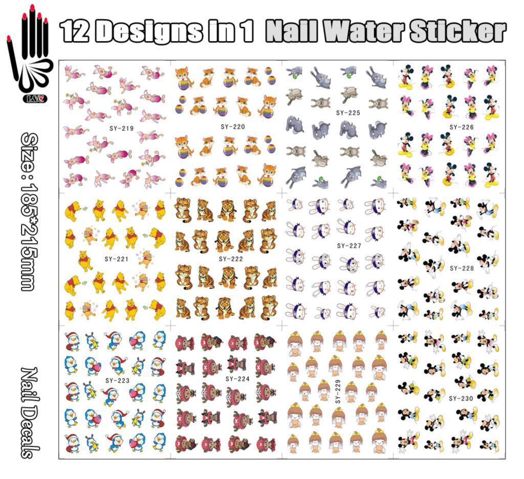 12 Sheets/Lot Nagelversorgung SY219 230 Cartoon Tiger Maus Miki ...