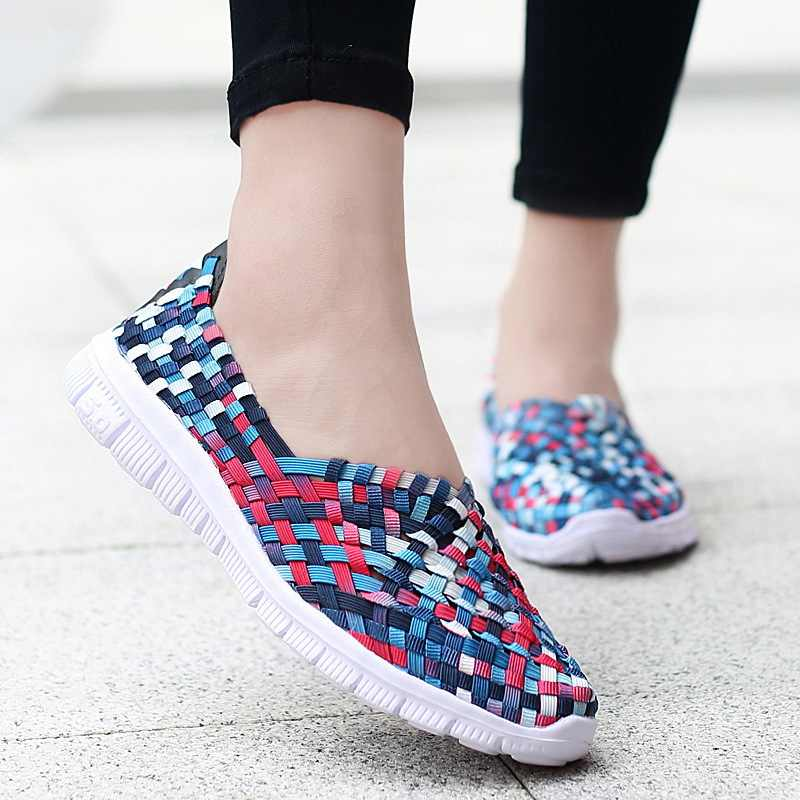 여성 운동화 여름 짠 신발 여성 플랫 캐주얼 브레스 로퍼 Femael Tenis 경량 운동화 Zapatos 빅 사이즈 35-42