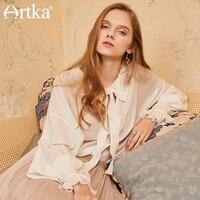 Artka New Summer Loose Drop Shoulder Full Petal Sleeve Sweet Snow White Bandage Knotted Chiffon Blouse Shirt SA10485C