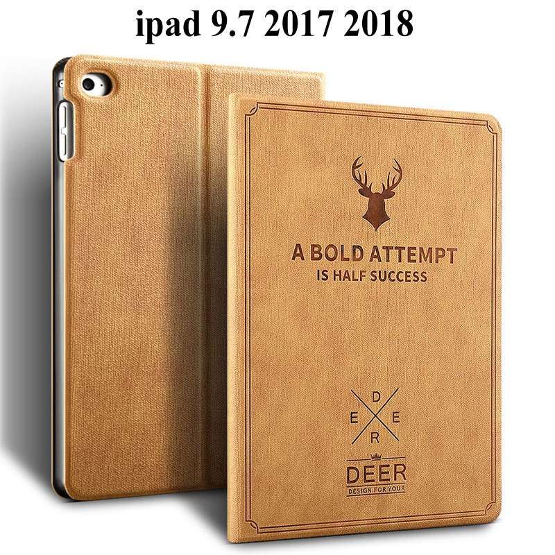 Retro Deer Matte PU Leather Case For Apple IPad 9.7 2017 Smart Cover For IPad 9.7 2018 Cover A1822 A1823 Tablet Case+Film+Pen