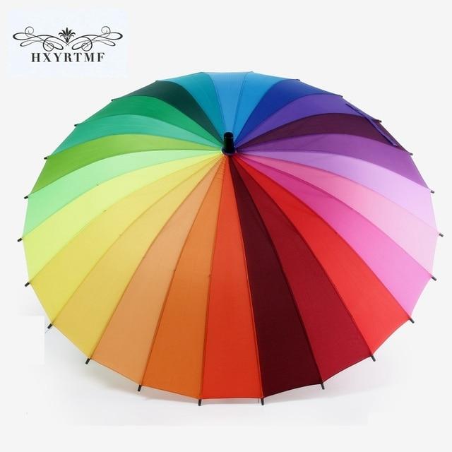 4b4ef28e0340d Top Quality 24k Rib Color Rainbow Fashion Long Handle Straight Anti-UV Sun/ Rain Stick Umbrella Manual Big Parasol