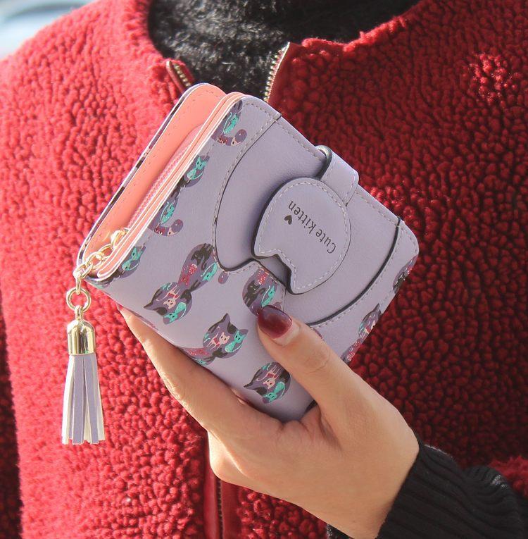 Tassel cartoon cat women wallet printing PU Leather women walelt brand designed coin purse female card holder cute girl wallet 2
