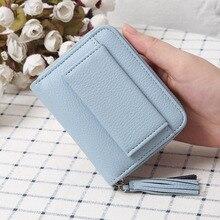 Women Short Purse PU Leather Coin Pouch Zipper Tassels Billfold Casual Card Holder Wallet -OPK стоимость