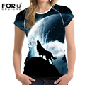 FORUDESIGNS 2017 Fashion Women T-Shirt Crop Tops 3D Wolf Design T Shirt Woman Short-sleeved Cool Tshirt For Girls Roupa Feminina