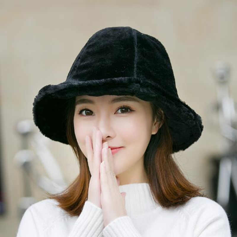 ebd56a537031f9 Winter Women Flat Top Cap Fur Thick Warm Bucket Hats Casual Solid Color  Ladies Fur Fashion