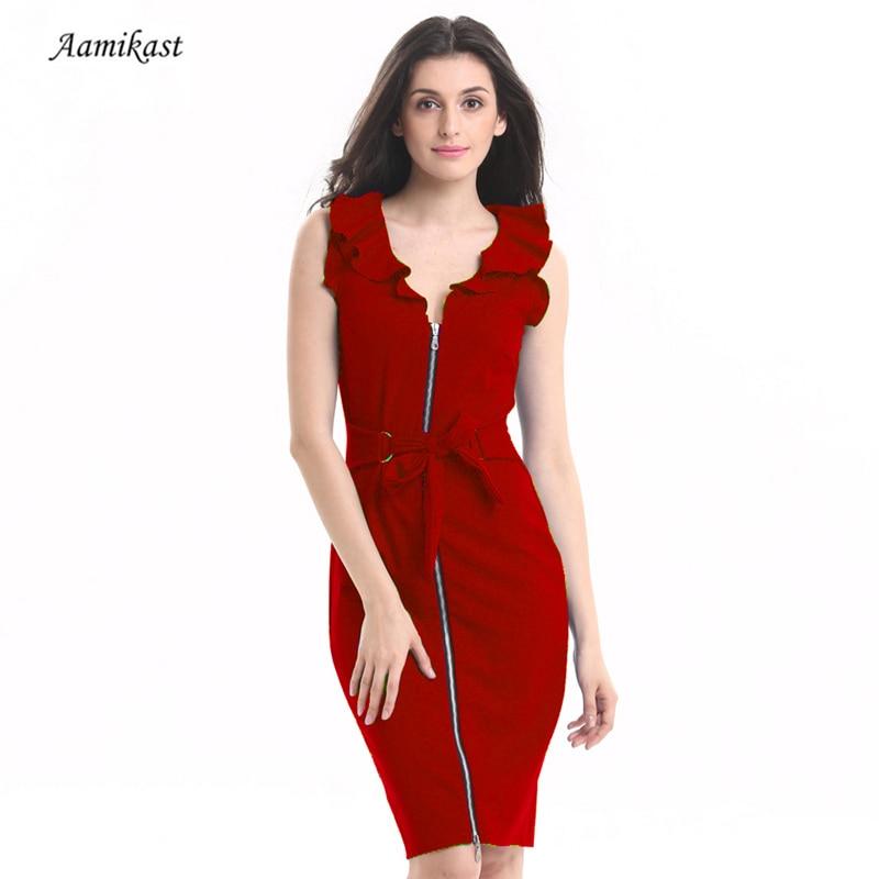 Elegant Summer Dress Women Vintage Ruffles V-Neck Sleeveless Office Ladies  Pencil Dress Female Party ebf75ebf240b