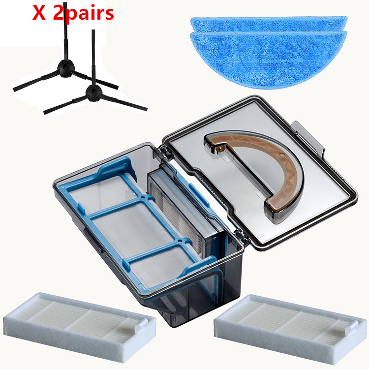 dust box*1+2*Pair side Brush+2*hepa Filter+2*Mop cloth for ilife x5 v5s V3 V3+ v5pro ilife v5s pro robot vacuum cleaner Parts