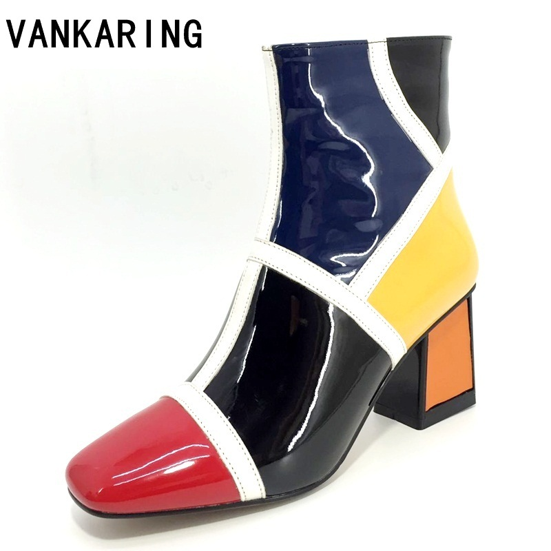 fashion mixed color microfiber patent leather ankle boots for women square toe cowboy runway boots women high heel wedge pumps-in Ankle Boots from Shoes    1