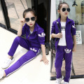 Best Selling! Autumn Spring Girls Active Clothing Set Black Red Purple