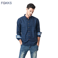 FGKKS New Casual Shirt Men Plaid Male Shirts Top Slim Fit Long Sleeve Plaid Cuff Spring