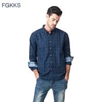 FGKKS New Casual Shirt Men Plaid Male Shirts Top Slim Fit Long Sleeve Plaid Cuff Spring
