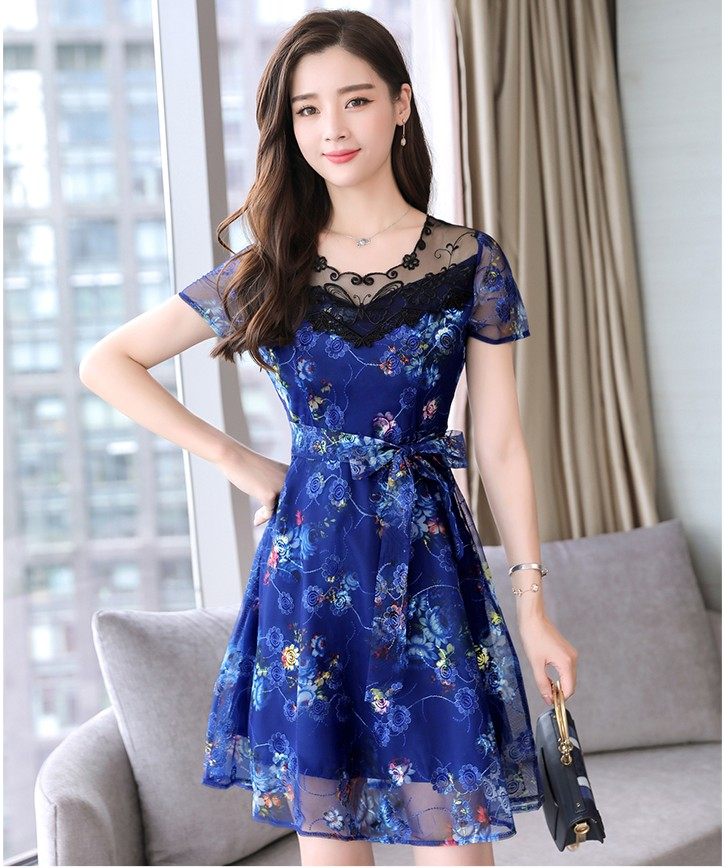 2019 New girls fashion blue flower printing dresses women ...