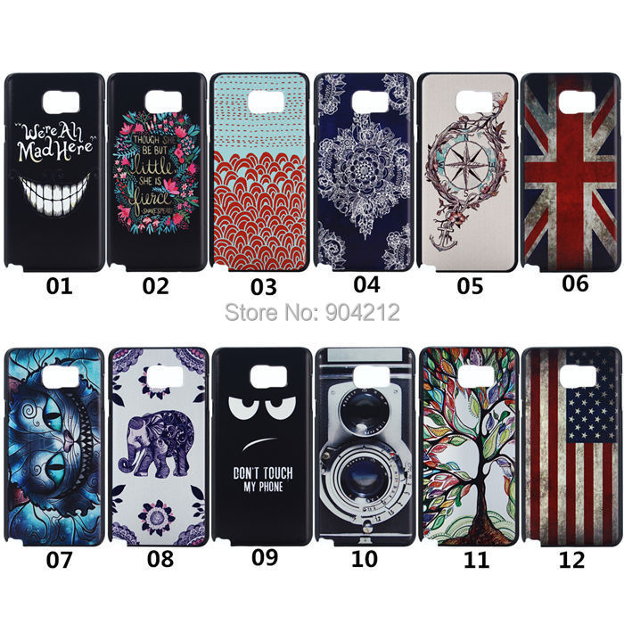 Samsung Galaxy Note 5 UK US Flag Camera Tree Cute Cat Elephant Evil Smile Flower Hard Plastic Case Back Cover  -  Shenzhen Pai Xin Electronic Co., Ltd. store