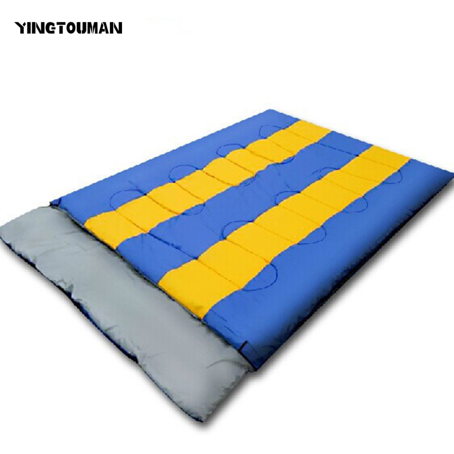 YINGTOUMAN Double Sleeping Bag Camping Hiking Warm Outdoor 2 Person Sleeping Bag Carrying Bag Envelope Lovers Sleeping Bags outdoor portable insulated cooler picnic bag 4 person travelset with tableware lunch bag wine bag handle bag for camping hiking