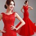 Kaftan formais Vermelho Mãe dos vestidos de Noiva Longo Sereia Mangas Apliques Backless Vestidos de Noite Vestido 2017 Made In China XS1