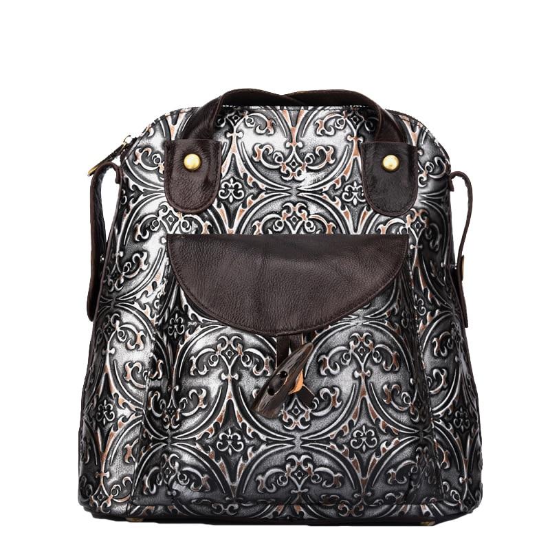 Real Leather Women's Vintage Retro Style Backpack Genuine Cowhide Leather Messenger School Bag Shoulder Sling Bag LS9066